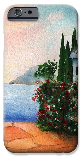Italian Sunset Villa by the Sea iPhone Case by Sharon Mick