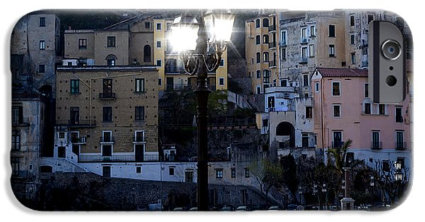 Night Lamp iPhone Cases - Italian village in the evening iPhone Case by Joana Kruse