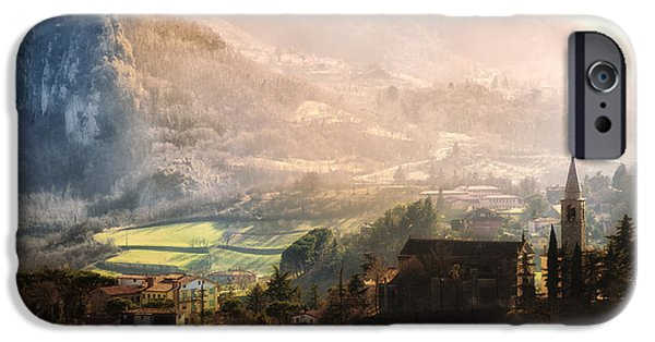 Built Structure Pyrography iPhone Cases - Italian village in the hills at sunset iPhone Case by Riccardo Zimmitti