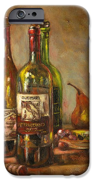 Italian Wine Paintings iPhone Cases - Italian Wine Bottles iPhone Case by Brenda Brannon