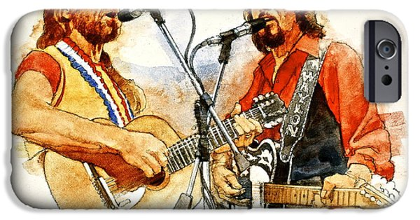Singer Mixed Media iPhone Cases - Its Country - 7  Waylon Jennings Willie Nelson iPhone Case by Cliff Spohn