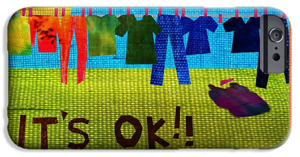 Courage Tapestries - Textiles iPhone Cases - Ok iPhone Case by Wendy Rickwalt