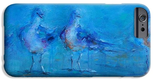 Flying Seagull Paintings iPhone Cases - Ive been Waiting iPhone Case by Dan Campbell