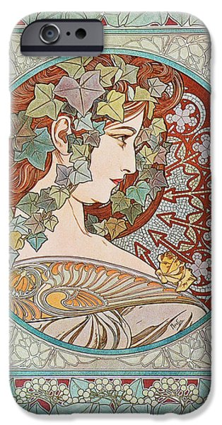 Gray Hair iPhone Cases - Ivy Hair Girl iPhone Case by Alphonse Mucha