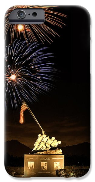 Pyrotechnics iPhone Cases - Iwo Jima Flag Raising iPhone Case by Michael Peychich