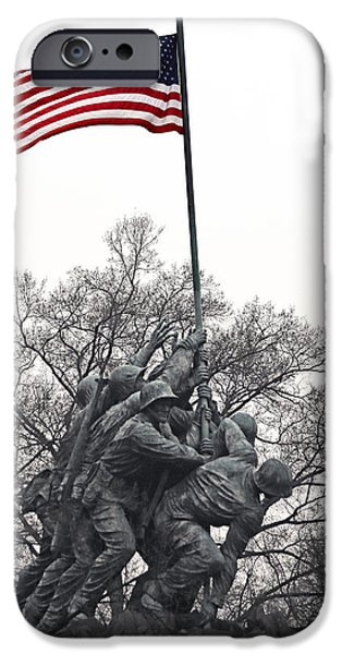 Old Glory iPhone Cases - Iwo Jima Memorial iPhone Case by Mitch Cat