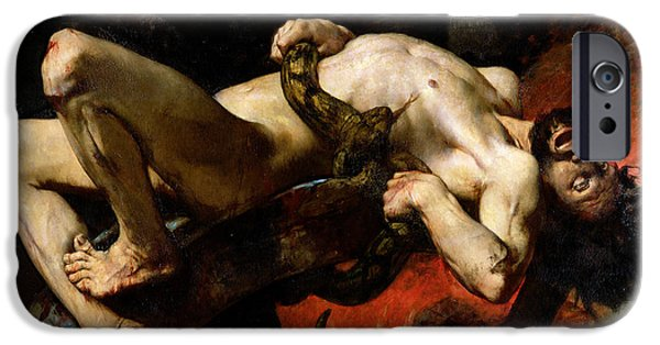 Boa Constrictor iPhone Cases - Ixion Thrown into Hades iPhone Case by Jules Elie Delaunay