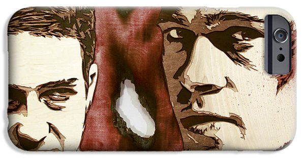 David Sculptures iPhone Cases - Jack And Tyler wood version iPhone Case by Bobby Zeik