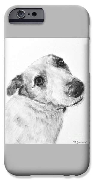 Cute Puppy iPhone Cases - Jack Russell Terrier Drawing iPhone Case by Kate Sumners