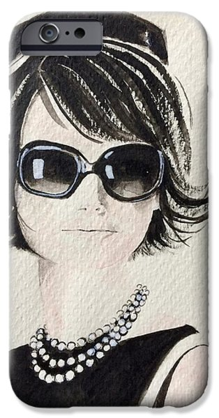 First Lady Paintings iPhone Cases - Jackie  iPhone Case by Barbara Chase