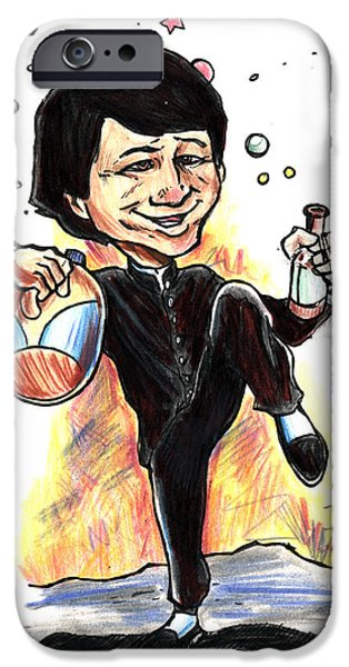 Caricature Mixed Media iPhone Cases - Jackie Chan Drunken Master iPhone Case by John Ashton Golden