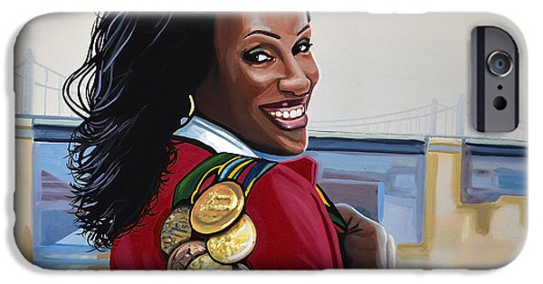 Bronze iPhone Cases - Jackie Joyner Kersee iPhone Case by Paul Meijering
