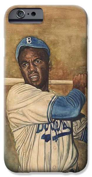 Negro Paintings iPhone Cases - Jackie Robinson iPhone Case by Robert Casilla