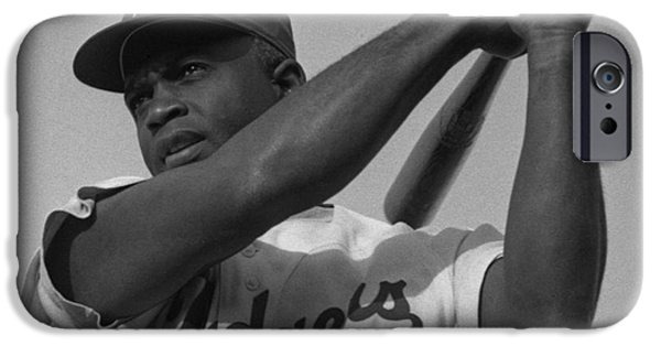 Baseball Uniform Paintings iPhone Cases - Jackie Robinson swinging a bat in Dodgers uniform iPhone Case by Celestial Images