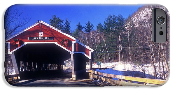 Covered Bridge iPhone Cases - Jackson NH Covered Bridge iPhone Case by John Burk
