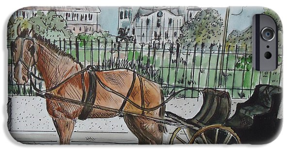 City Scape Mixed Media iPhone Cases - Jackson Square iPhone Case by Charme Curtin