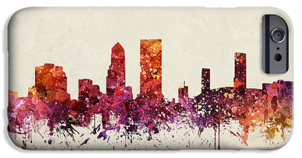 Jacksonville iPhone Cases - Jacksonville Cityscape 09 iPhone Case by Aged Pixel