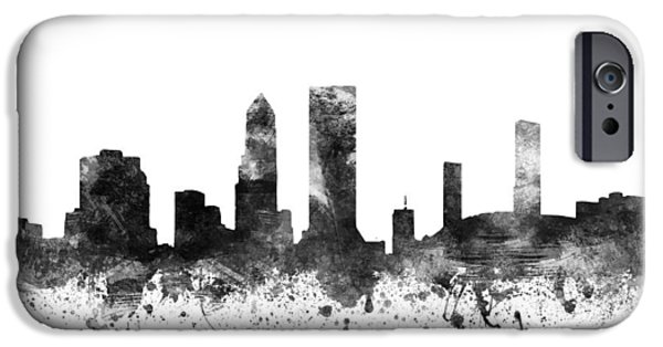 Jacksonville iPhone Cases - Jacksonville Florida Cityscape 02BW iPhone Case by Aged Pixel