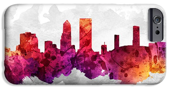Jacksonville iPhone Cases - Jacksonville Florida Cityscape 14 iPhone Case by Aged Pixel