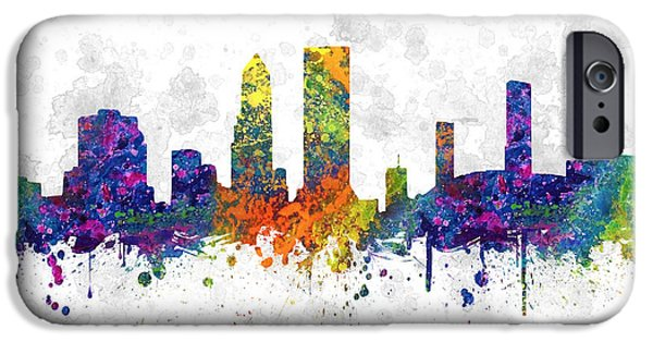 Jacksonville iPhone Cases - Jacksonville Florida Skyline color 03SQ iPhone Case by Aged Pixel
