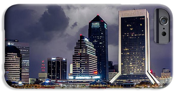 Jacksonville iPhone Cases - Jacksonville on a Stormy Evening iPhone Case by Jeff Turpin