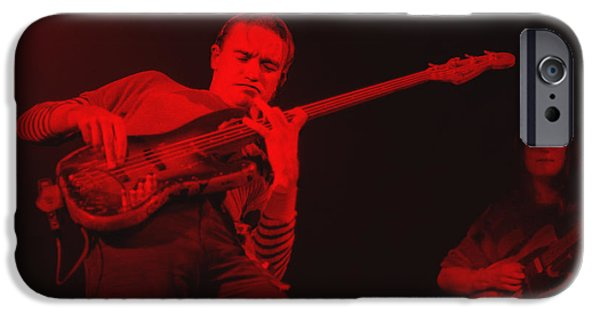 Pastorius iPhone Cases - Jaco on air - Red iPhone Case by Philippe Taka