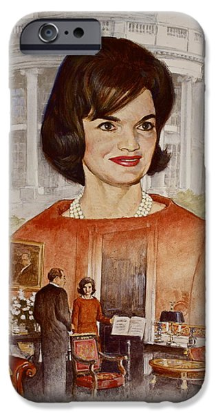 First Lady iPhone Cases - Jacqueline Kennedy Onassis  iPhone Case by Cliff Spohn
