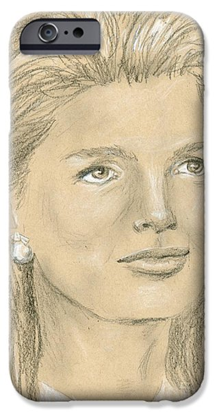 First Lady Portrait Drawings iPhone Cases - Jacqueline Kennedy iPhone Case by P J Lewis
