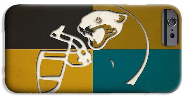 iPhone Cases - Jaguars Helmet Art iPhone Case by Joe Hamilton