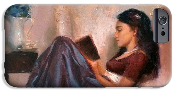 Figure iPhone Cases - Jaidyn Reading a Book 2 - Portrait of Woman iPhone Case by Karen Whitworth