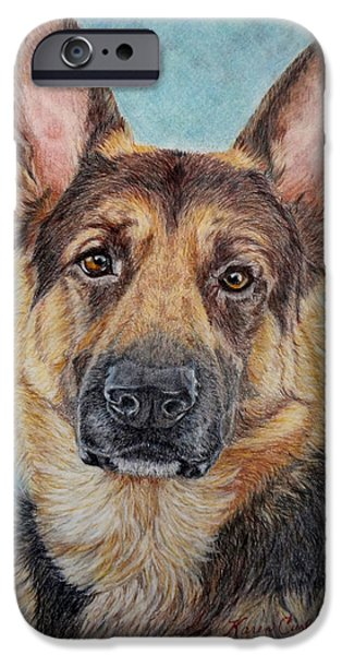 Dog Close-up Paintings iPhone Cases - Jake iPhone Case by Karen Curley