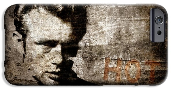 Torn Digital Art iPhone Cases - James Dean HOT iPhone Case by Carol Leigh