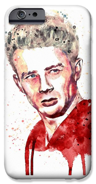 Young Mixed Media iPhone Cases - James Dean watercolor iPhone Case by Marian Voicu