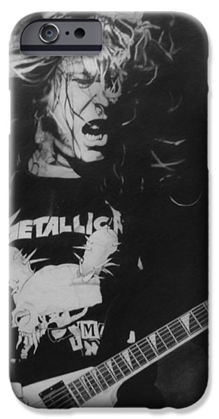 Super Stars iPhone Cases - James Hetfield Pencil 1987 iPhone Case by Brian Carlton