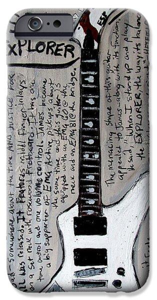 Metallica Paintings iPhone Cases - James Hetfields ESP Explorer iPhone Case by Karl Haglund