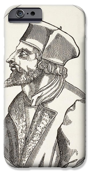 Religious Drawings iPhone Cases - Jan Hus, C.1369 To 1415 Aka John Huss iPhone Case by Ken Welsh