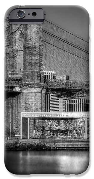 Urban iPhone Cases - Janes Carousel Brooklyn Bridge BW iPhone Case by Susan Candelario