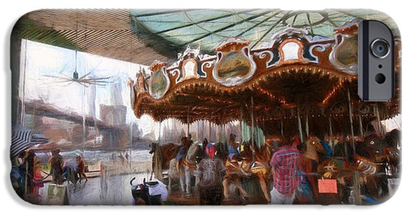 Child iPhone Cases - Janes Carousel Digital Painting iPhone Case by Allen Beatty