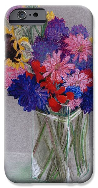 Plant Pastels iPhone Cases - Jans Flowers iPhone Case by Joan Thewsey
