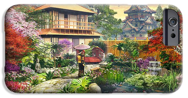 House iPhone Cases - Japan garden Variant 2 iPhone Case by Dominic Davison