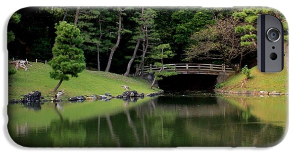 Reflection Of Trees iPhone Cases - Japanese Bridge Reflection iPhone Case by Carol Groenen