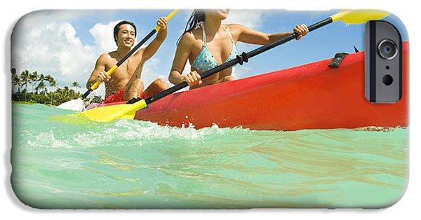 Youthful iPhone Cases - Japanese couple kayaking iPhone Case by Dana Edmunds - Printscapes
