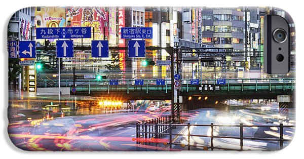 Shinjuku iPhone Cases - Japanese Downtown Traffic At Dusk iPhone Case by Jeremy Woodhouse