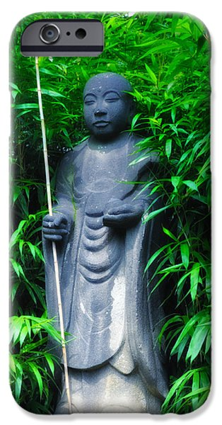 Bamboo House iPhone Cases - Japanese House Monk Statue iPhone Case by Bill Cannon