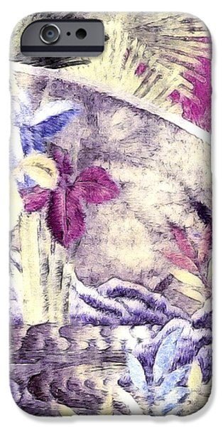 Floral Digital Art Digital Art iPhone Cases - Japanese Iris - Kimono Series iPhone Case by Susan Maxwell Schmidt