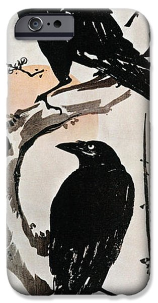 1870 iPhone Cases - Japanese Print: Crow iPhone Case by Granger