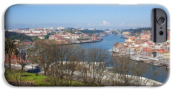 River iPhone Cases - Jardim do Morro in Gaia and Porto Cityscape iPhone Case by Artur Bogacki