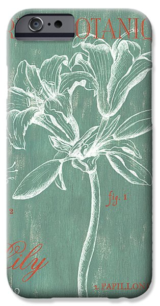 Animal Drawings iPhone Cases - Jardin Botanique Aqua iPhone Case by Debbie DeWitt