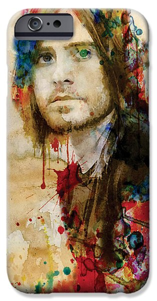 Red Rock Mixed Media iPhone Cases - Jared Leto watercolor iPhone Case by Marian Voicu