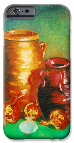 Water Jars Paintings iPhone Cases - Jars iPhone Case by Matthew Doronila